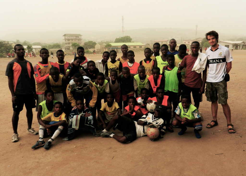 Oskar is pictured right with the Humble Children Football Academy in Kokrobite, Ghana. Photo courtesy the author.
